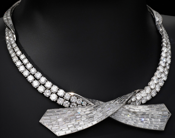 "A Double Row Diamond ""Ribbon"" Motif Necklace, by Pierre Sterlé, circa 1960"