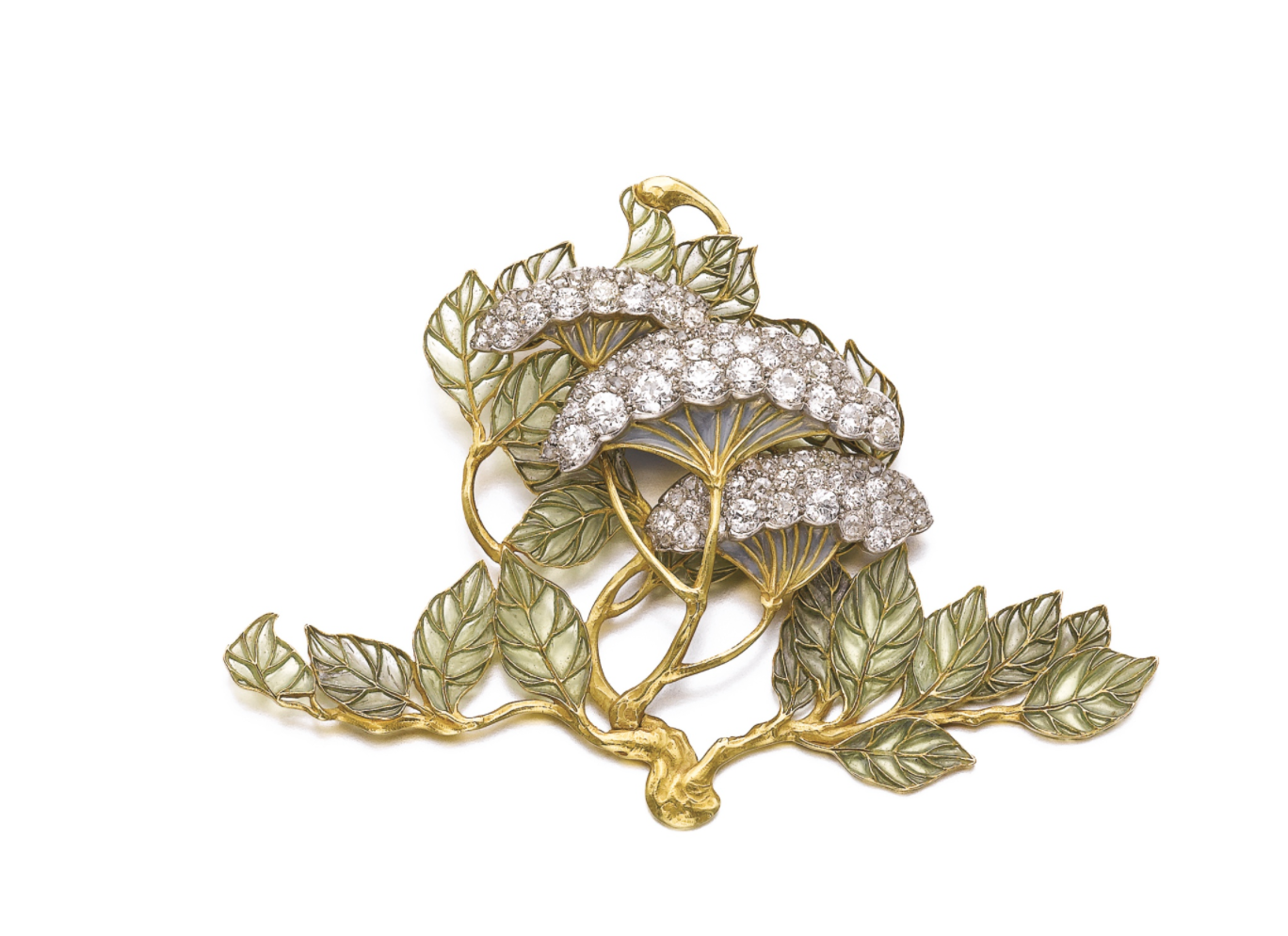 Enamel and diamond brooch, 'Hydrangea Petiolaris', René Lalique, circa 1900    Of floral and foliate design, the flowers set with circular-cut, cushion-shaped and rose diamonds, the leaves applied with light green plique-à-jour enamel, signed Lalique, brooch fitting detachable.    Enamel and diamond brooch, 'Hydrangea Petiolaris', René Lalique, circa 1900     Estimate: CHF    79,000 — 118,000    LOT SOLD November 2016.    212,500 CHF    (   Hammer Price with Buyer's Premium)     Photo Courtesy of Sotheby's