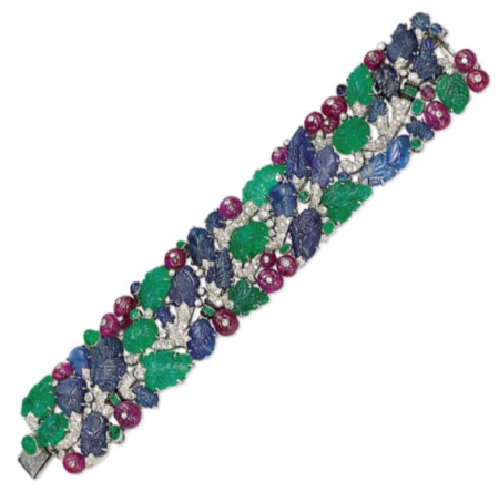 An Art Deco 'Tutti Frutti' Bracelet, by Cartier with maker's mark for Henri Picq, photo courtesy of Christie's.