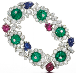 Gem set and diamond brooch, by Henri Picq, photo courtesy of Sotheby's.
