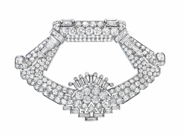 An Art Deco diamond clip brooch, by Henri Picq, circa 1930s.