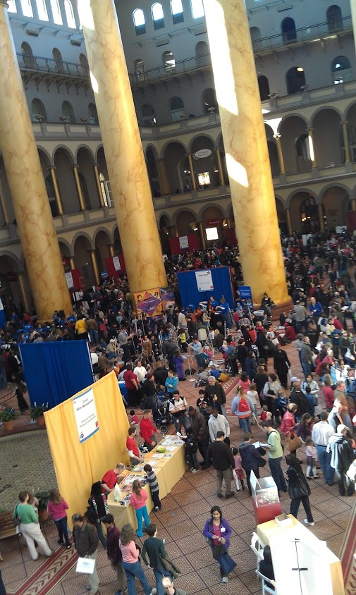 The crowds and the enthusiasm for engineering are great within the halls of National Building Museum for Washington D.C.'s Discover Engineering Family Day