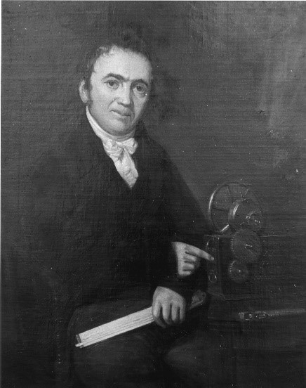 Joshua Routledge (29) created the Routledge Engineer's Slide 1773-18 Rule circ 1805 and invented the Rotary Steam Engine, Bolton Library portrait.
