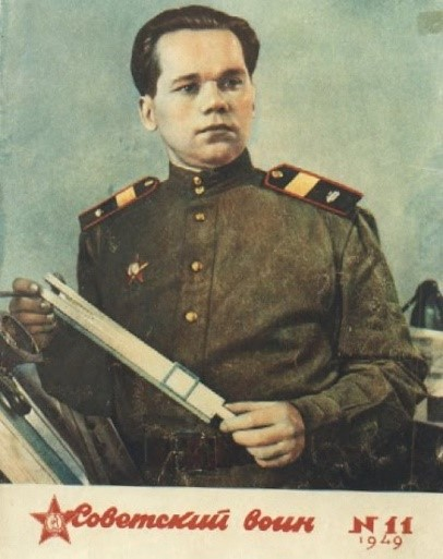 Senior Sergeant Mikhail Kalashnikov (Kalasnyikov) the inventor of the automatic rifle named after him and designed in 1947