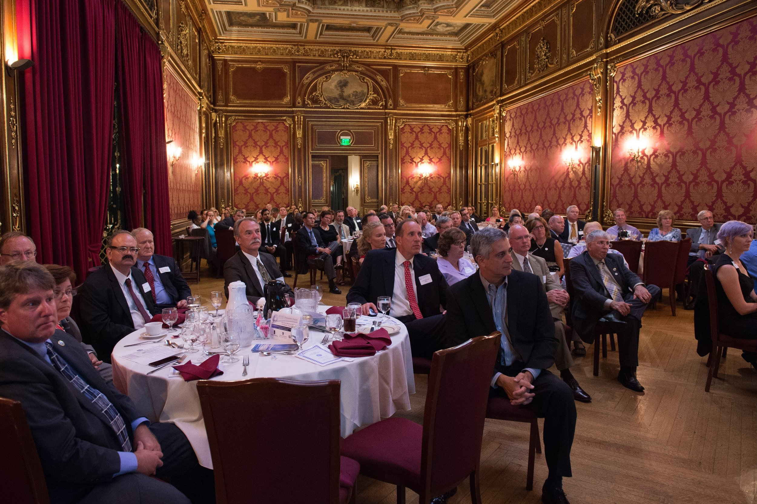 A Speaker's View of the Mansion's Ballroom Filled to Capacity