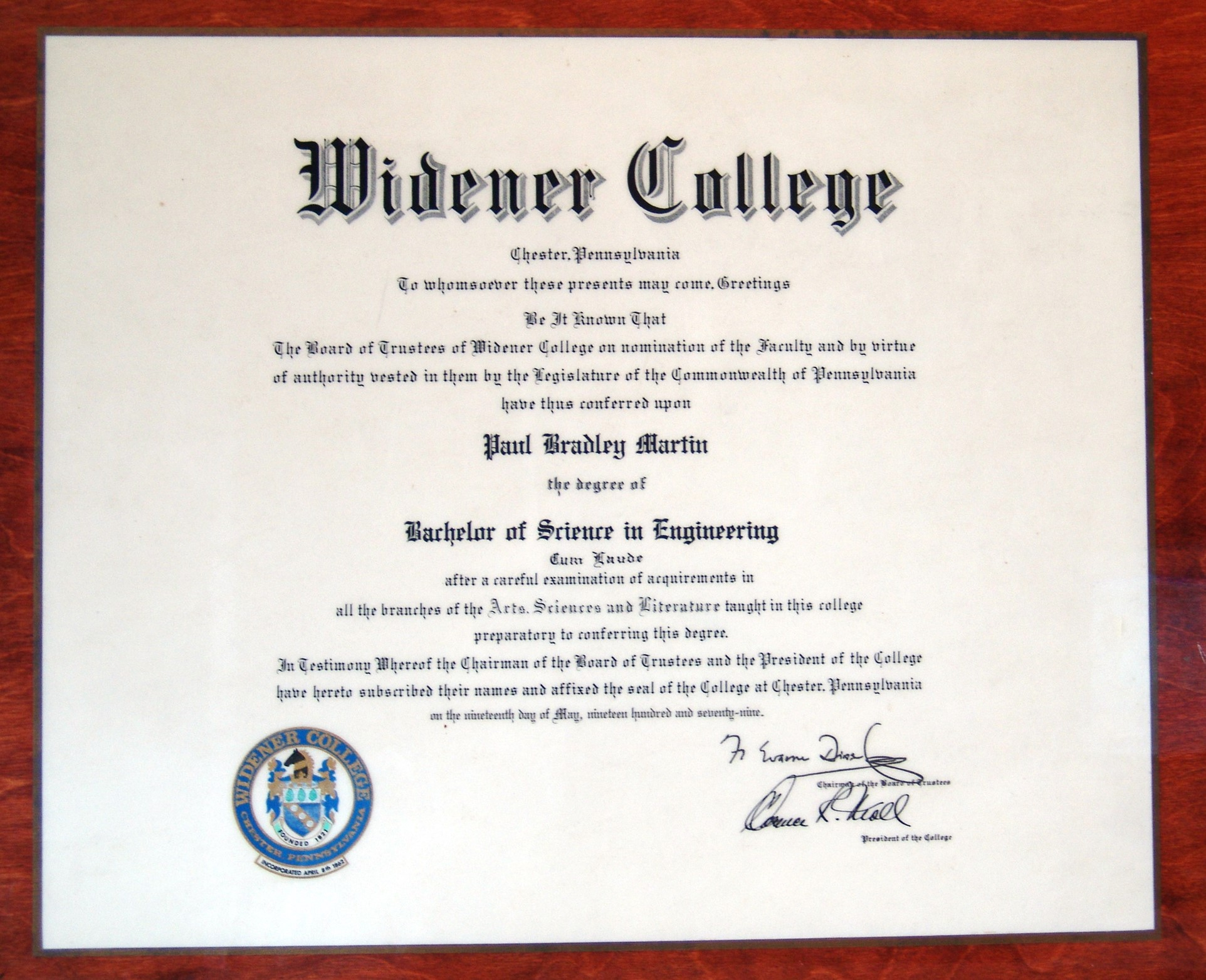 Proof that I graduated from Widener College back in 1979. My mother had a thing about laminating important documents.