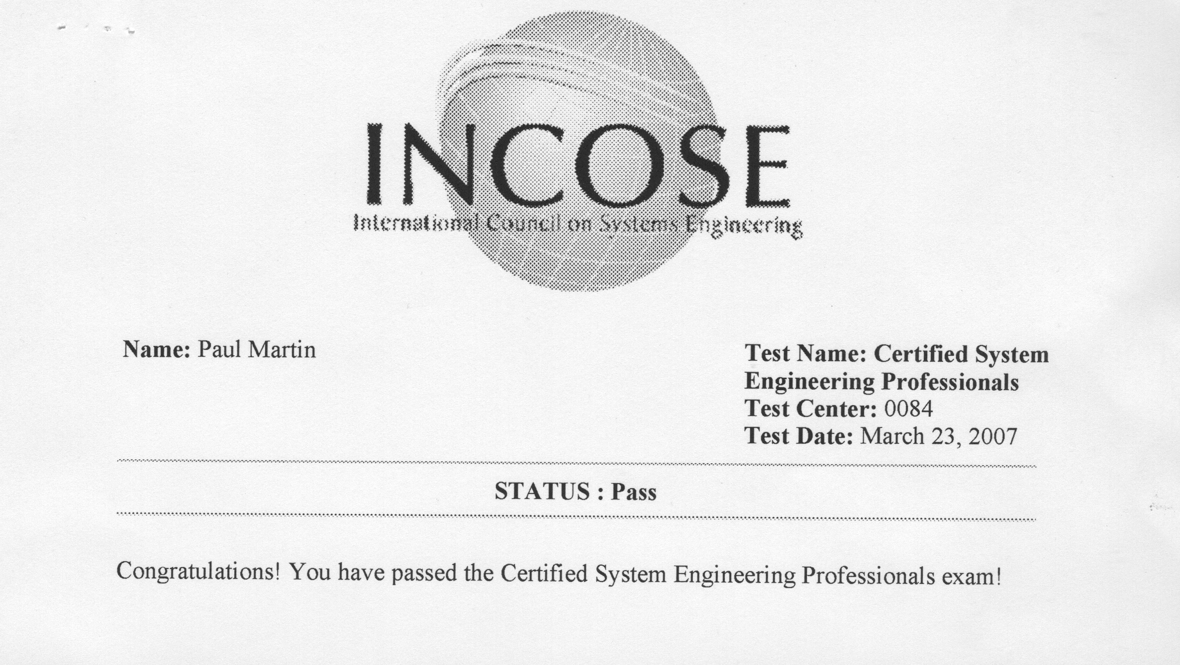 The print out from the Prometrics site - showing I passed!