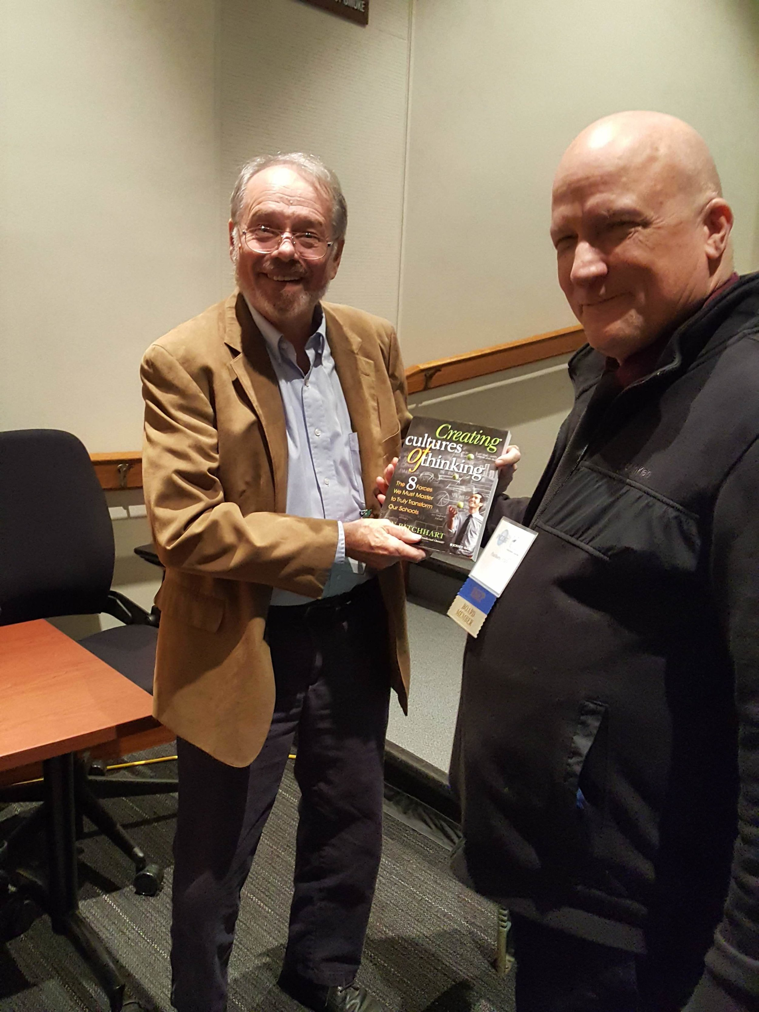 Jim Jenkins, founder and executive director of Applied Technology Institute, won the raffle for the book:  Creating Cultures of Thinking: The 8 Forces We Must Master to Truly Transform Our Schools
