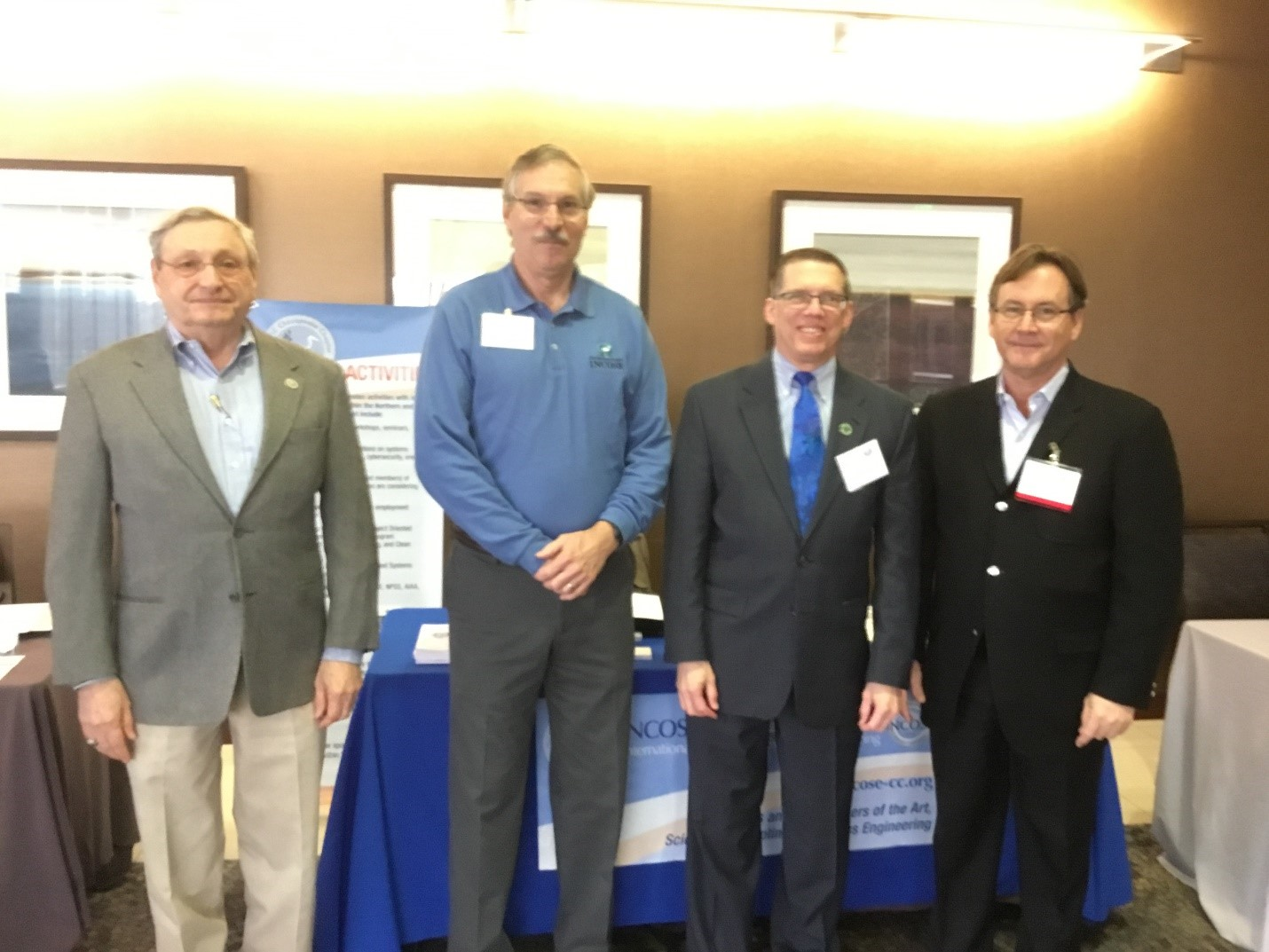 Participants of the January 29, 2018 reStart job fair event: L-R: George Anderson, ESEP, Membership committee member, Mike Pafford, 2018 Chesapeake Chapter Past-President, Mark Kaczmarek, ASEP, Membership Director, James Hubbell, ESEP, member-at-large. Photo by Sarah Lawrence.