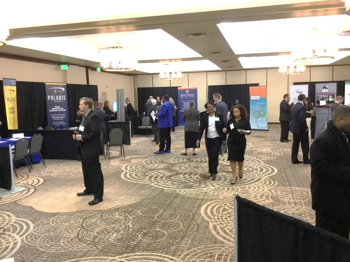 One of the rooms filled with company representatives at the December 4, 2017 reStart job event in Columbia, MD.