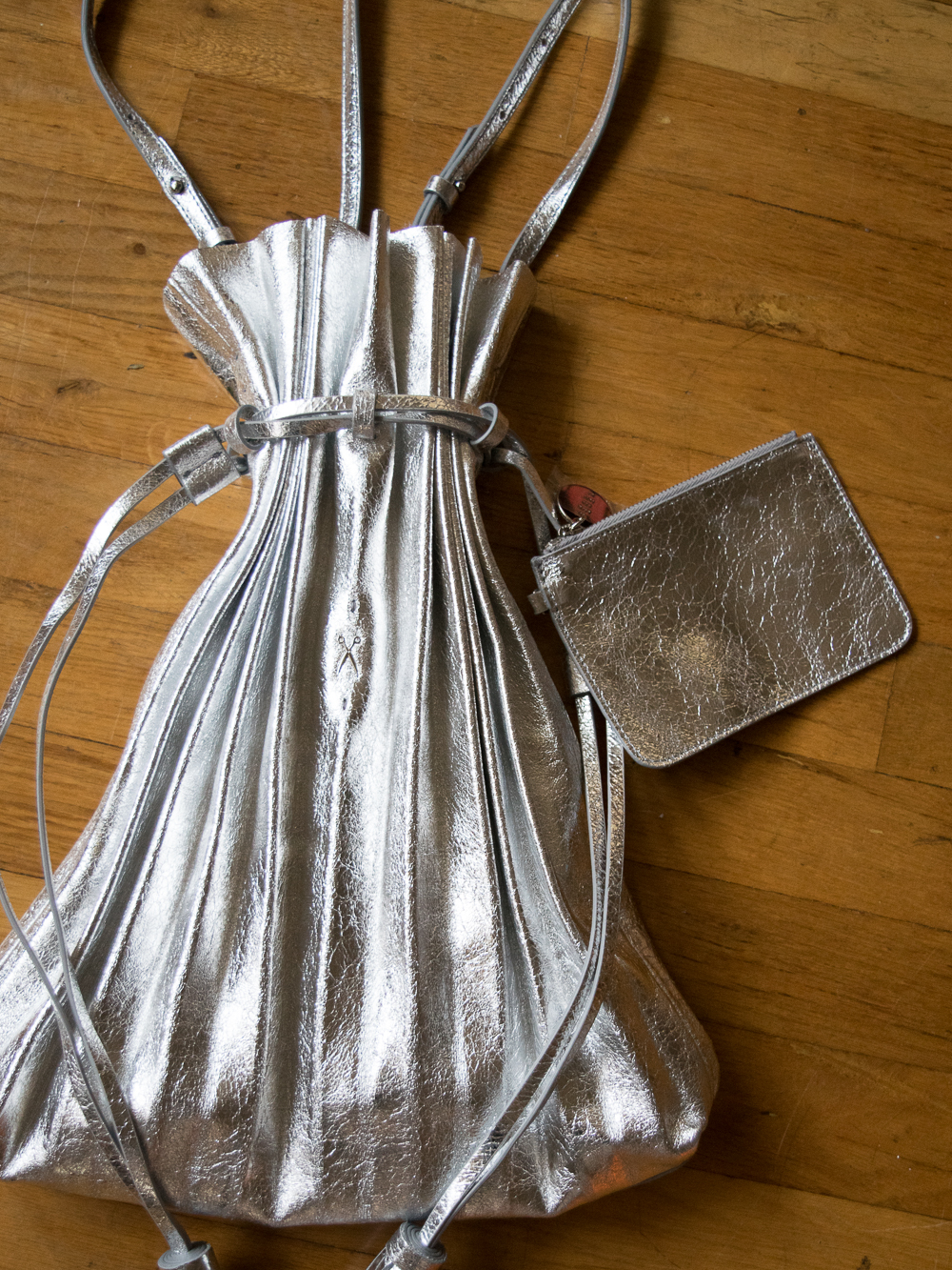 Lucky Pleats Shopper Bag Cracked Silver Joseph and Stacey Product Image