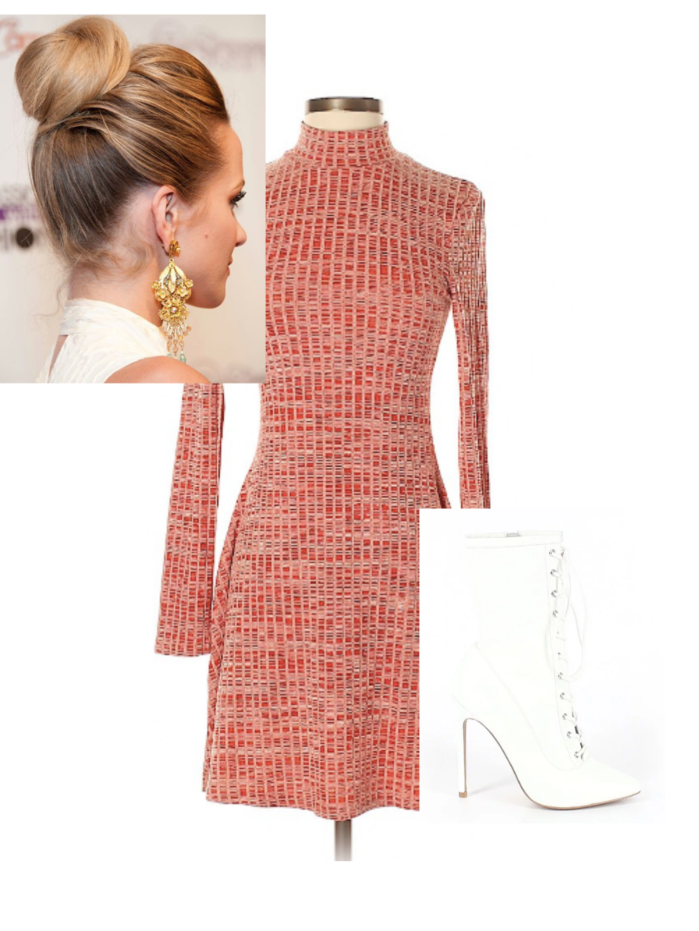 Red mini dress, white go-go boots, loose bun for fourth of july outfit 1
