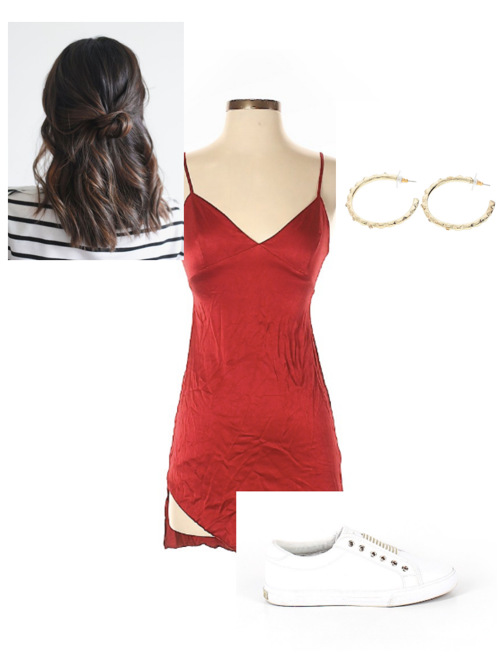 Red slip dress, white sneakers, golden hoops, half updo look 2 for red mini dress fourth of july looks