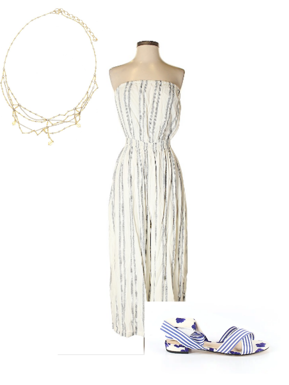 Striped white and blue jumpsuit with white sandals—all white outfit for fourth of july