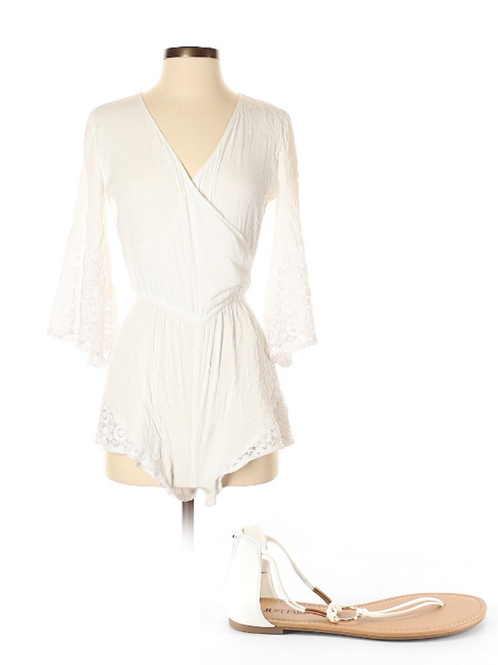 All white outfit for July 4th—flowy romper and white sandals