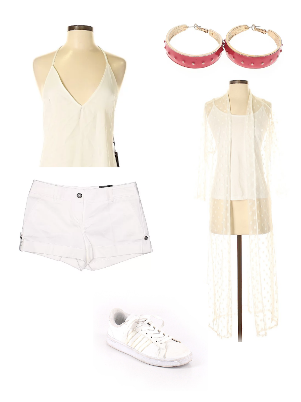 White shirt, shorts, sneakers, red earrings, and white kimono outfit for fourth of july