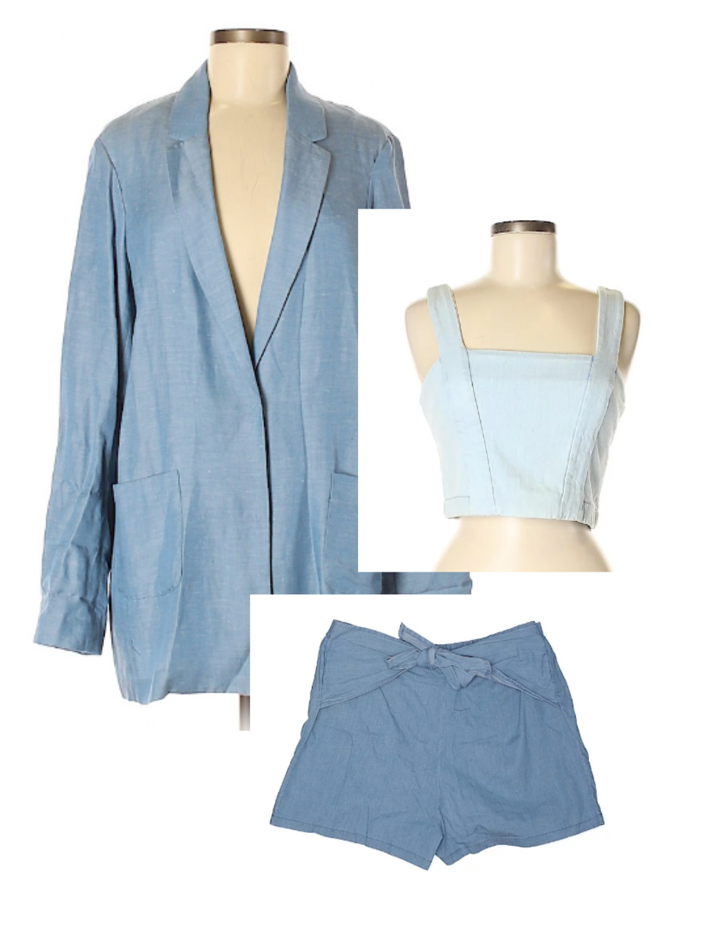 Light blue, playful shorts power suit for fourth of July