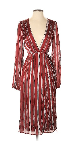 Red and white striped midi dress for fourth of july