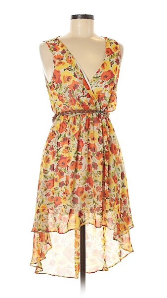 Yellow floral print hi low midi dress for fourth of july