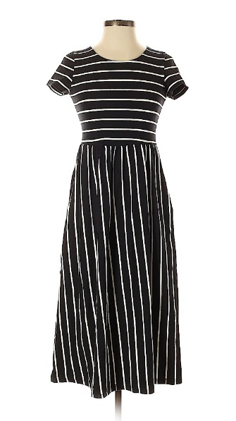Black and white striped midi dress for fourth of july