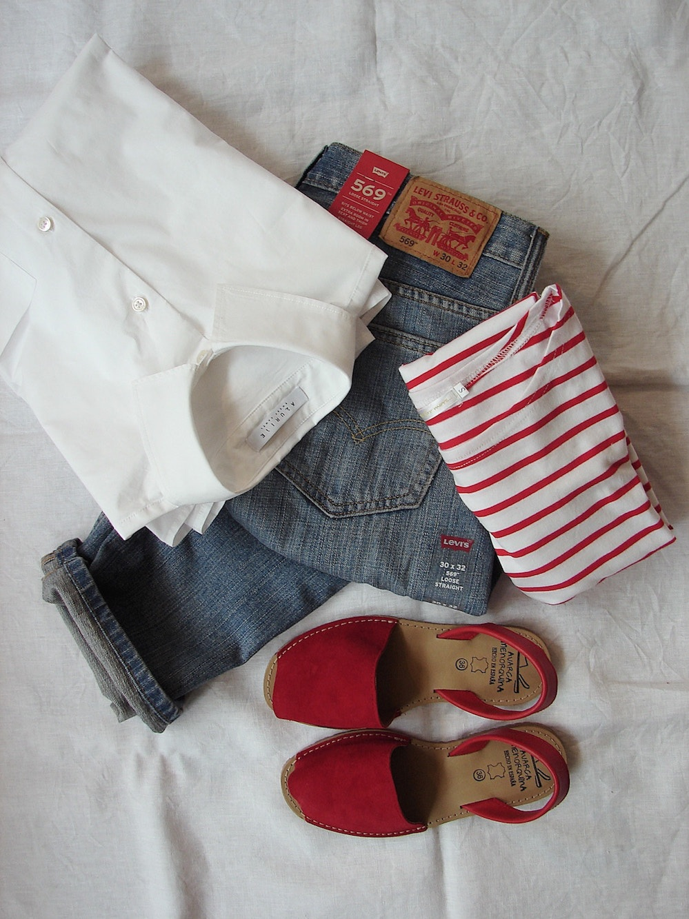 White shirt, blue jeans, red sandals, striped red shirt, fourth of july outfit