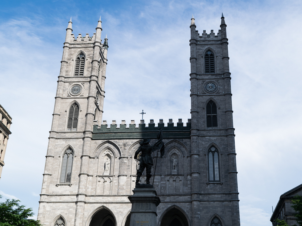 Notre Dame Basilica Montreal with Light and Dark Shadow