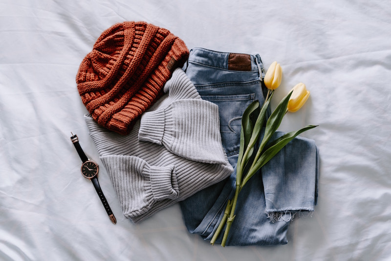 Pile of clothes with tulips