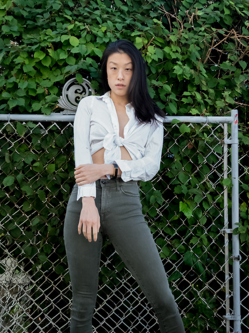 Outfit 9, white shirt green pants