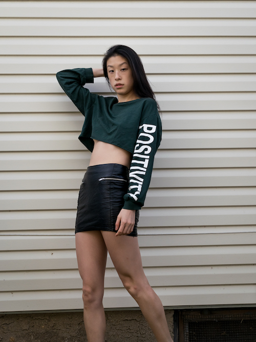 Outfit 8, green crop, leather skirt