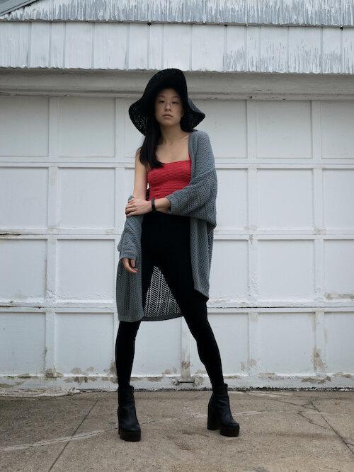Seagreen cardigan, black leggings, black boots, orange crop top, black hat outifit 2 lookbook