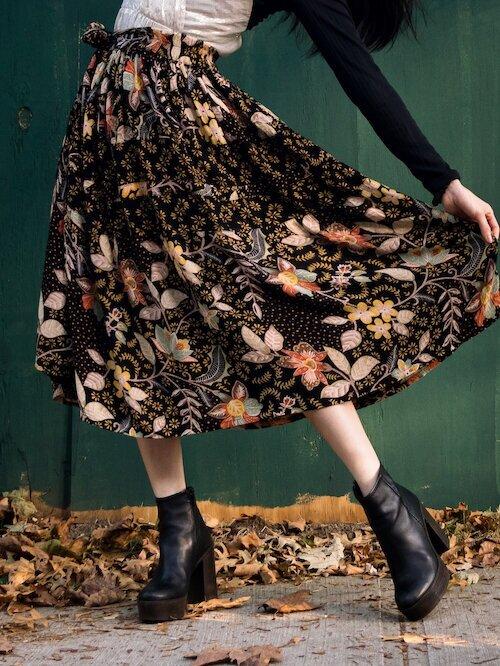 Floral skirt details and black platform boots