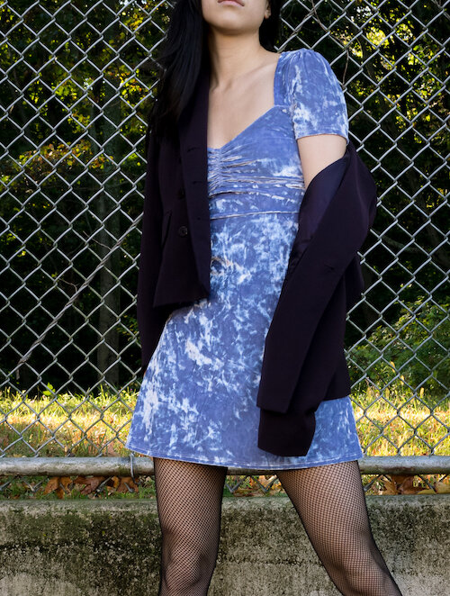 Periwinkle crushed velvet dress, purple blazer, fishnet tights Details
