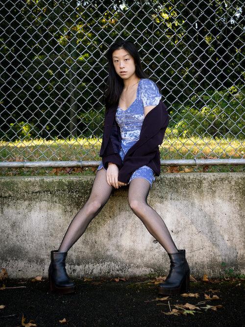 Periwinkle crushed velvet dress, purple blazer, fishnet tights, black platform boots