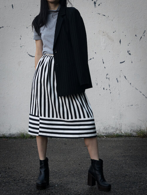 Striped top, striped skirt, striped blazer, black platform boots