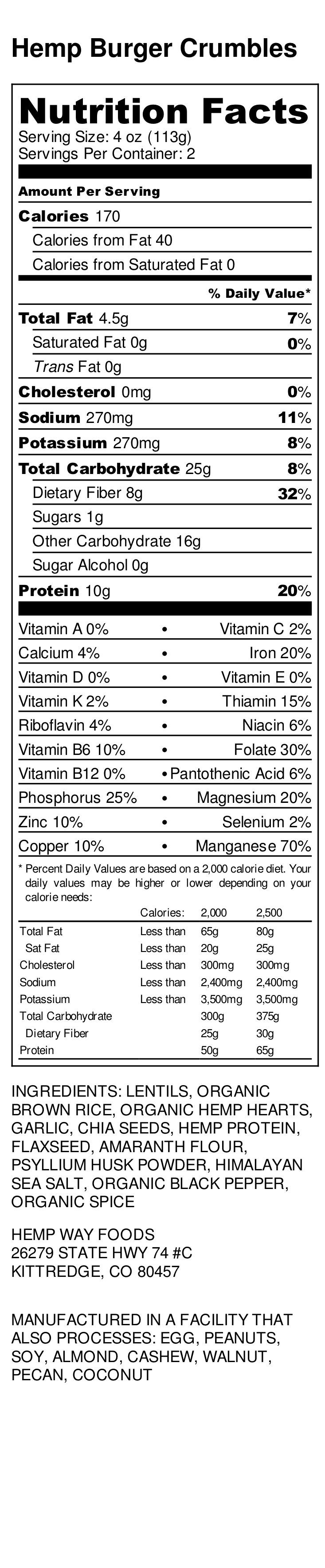 Hemp Burger Crumbles   - Nutrition Label.png