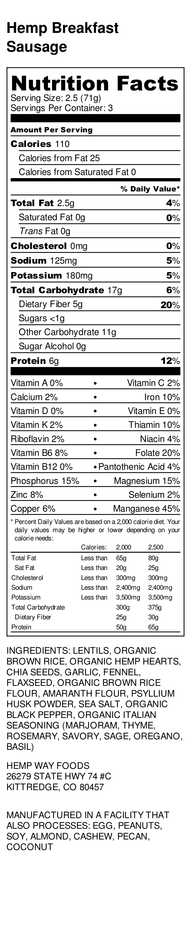 Hemp Breakfast Sausage - Nutrition Label.png