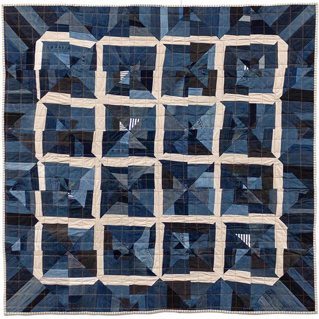 Denim Broken Grid⠀ Old blue jeans, canvas scraps & cotton⠀ 51.75 x 50.75⠀ ⠀ #denimquilts #improvquilting #upcycledfabricquilt #inspiredbyvintagequilts #brokengridquilt