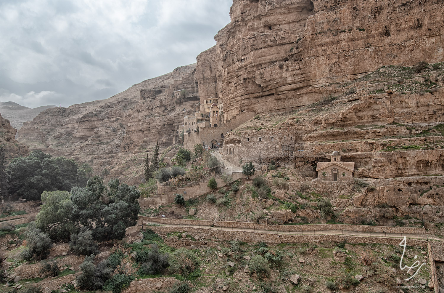 Monastery of St. George of Choziba, Wadi Qelt  The Monastery was established in 420CE. The Monastery is associated with the parents of Virgin Mary and holds the relics of three Eastern Orthodox saints, making it a site of intense pilgrimage.