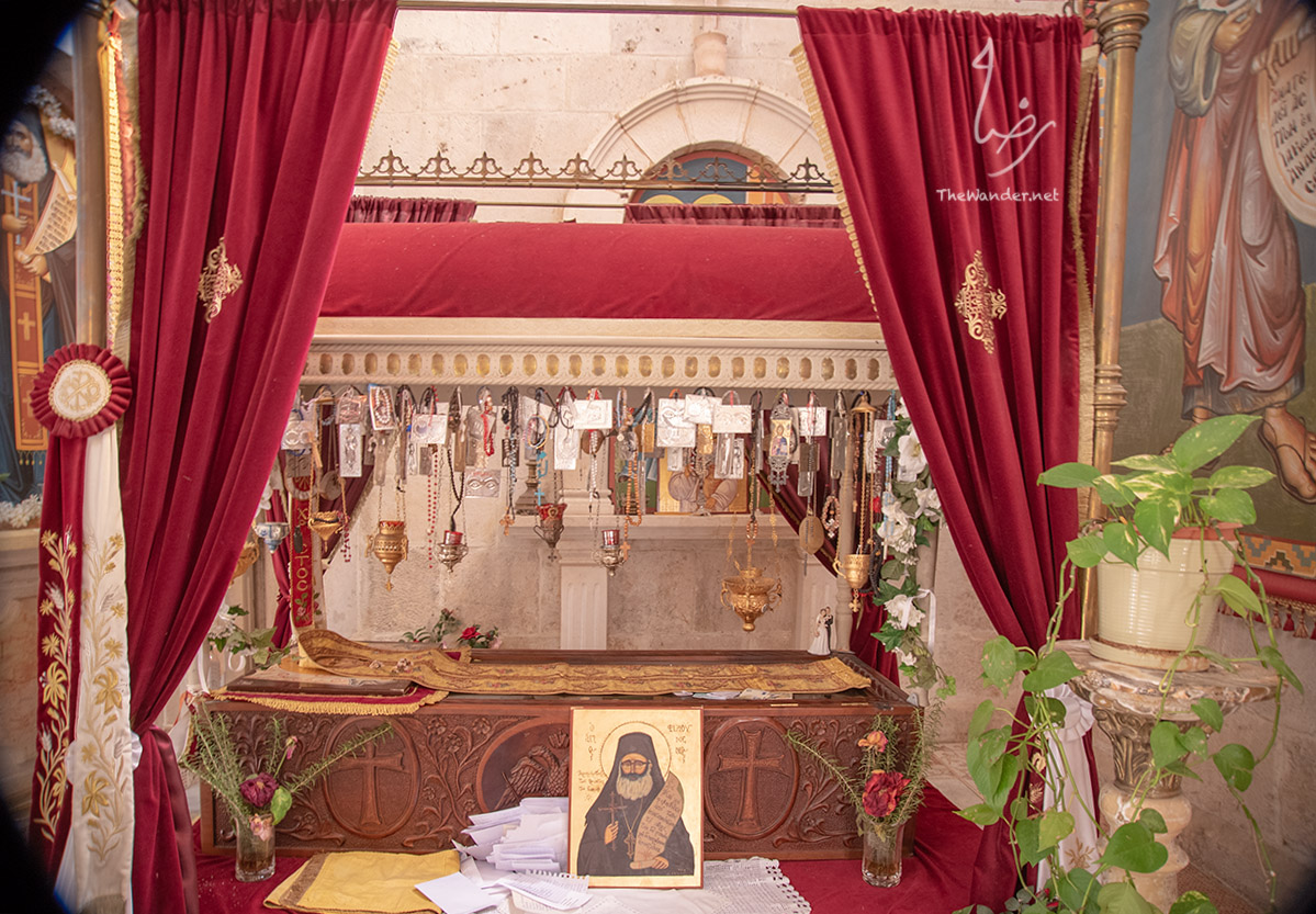 Saint Philoumenos (Hasapis) of Jacob's Well  Archimandrite Philoumenos was the custodian of Jacobs well. In November 1979 a group of fanatical Zionists came to the Monastery of Jacob's Well, claiming it as a Jewish holy place and demanding that all crosses and icons be removed. A week later the priest was tortured and hacked to death by a settler. Philoumenos was canonized as a saint in 2009.