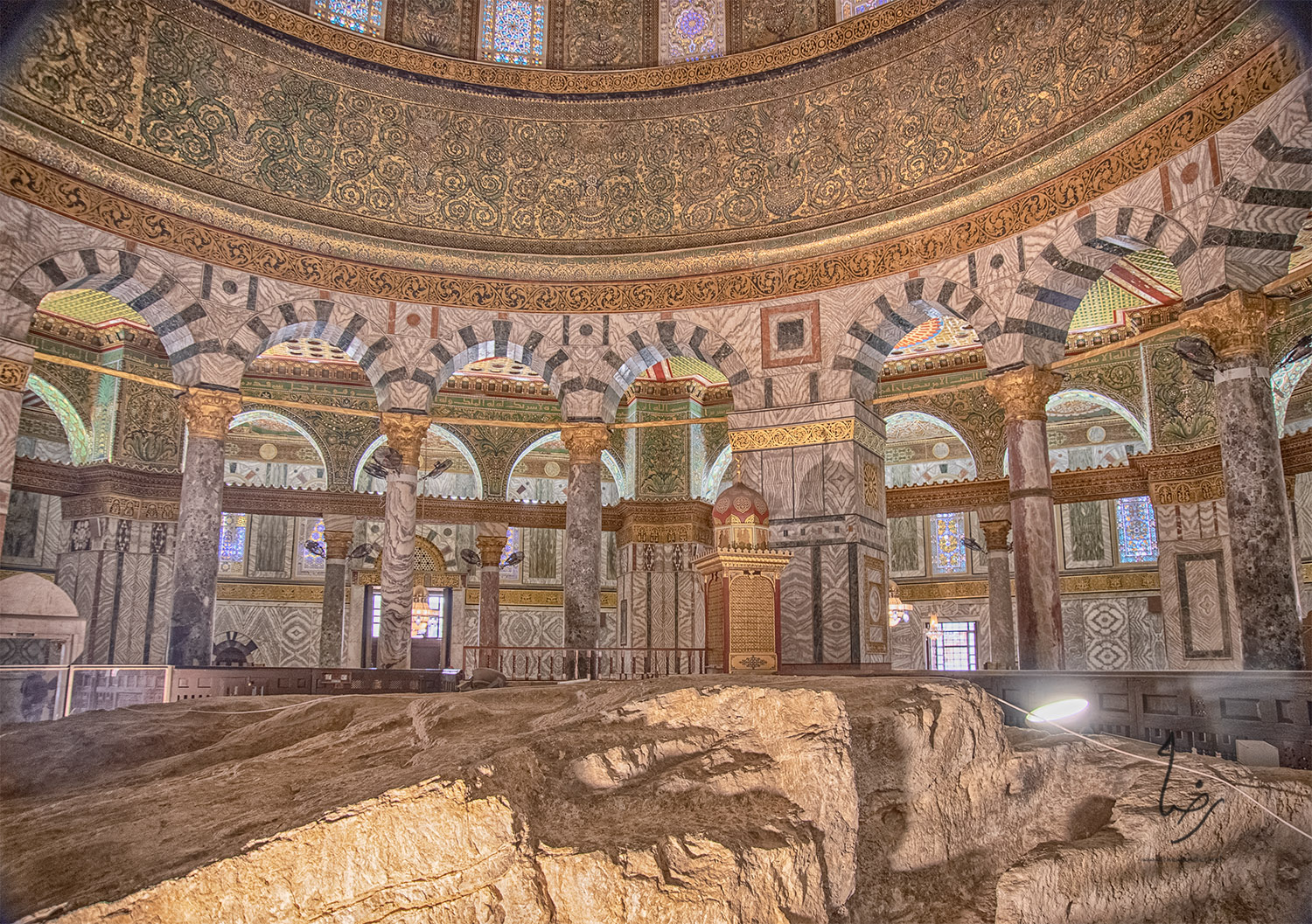 The Rock in the Dome of the Rock; Even ha-Shtiyya (The foundation stone), al-Sakhrah al-Musharrafah (The Noble Rock). The reliquary next to the rock dates from the Ottoman period and contains a hair of Muhammad's beard.