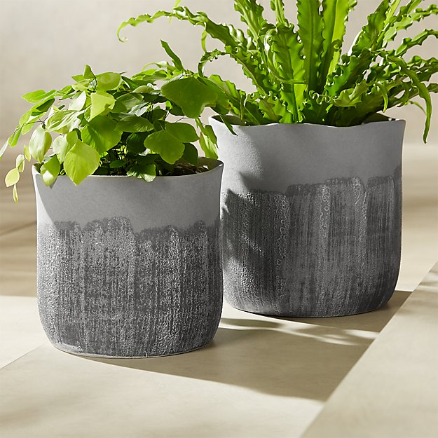 Grey Drip Glazed Planter