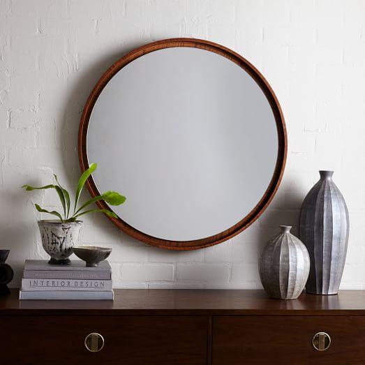 Floating Round Wood Mirror