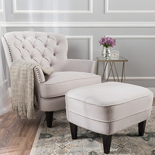 Tufted Fabric Club Chair with Ottoman