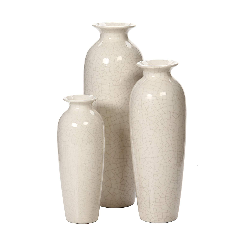 Hosley Crackle Ivory Vases