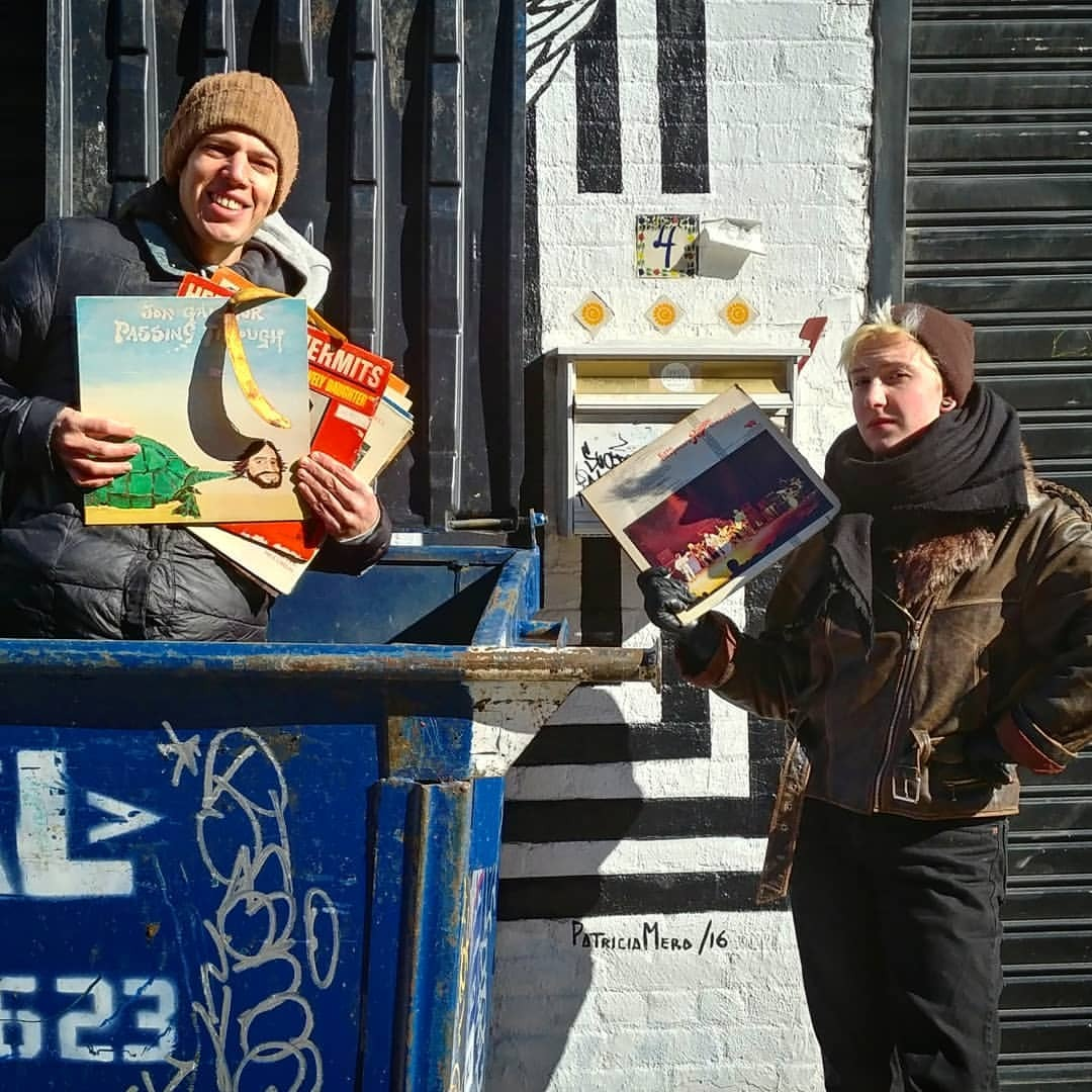 Jeffrey Lewis getting some record shopping done during production of our music video.