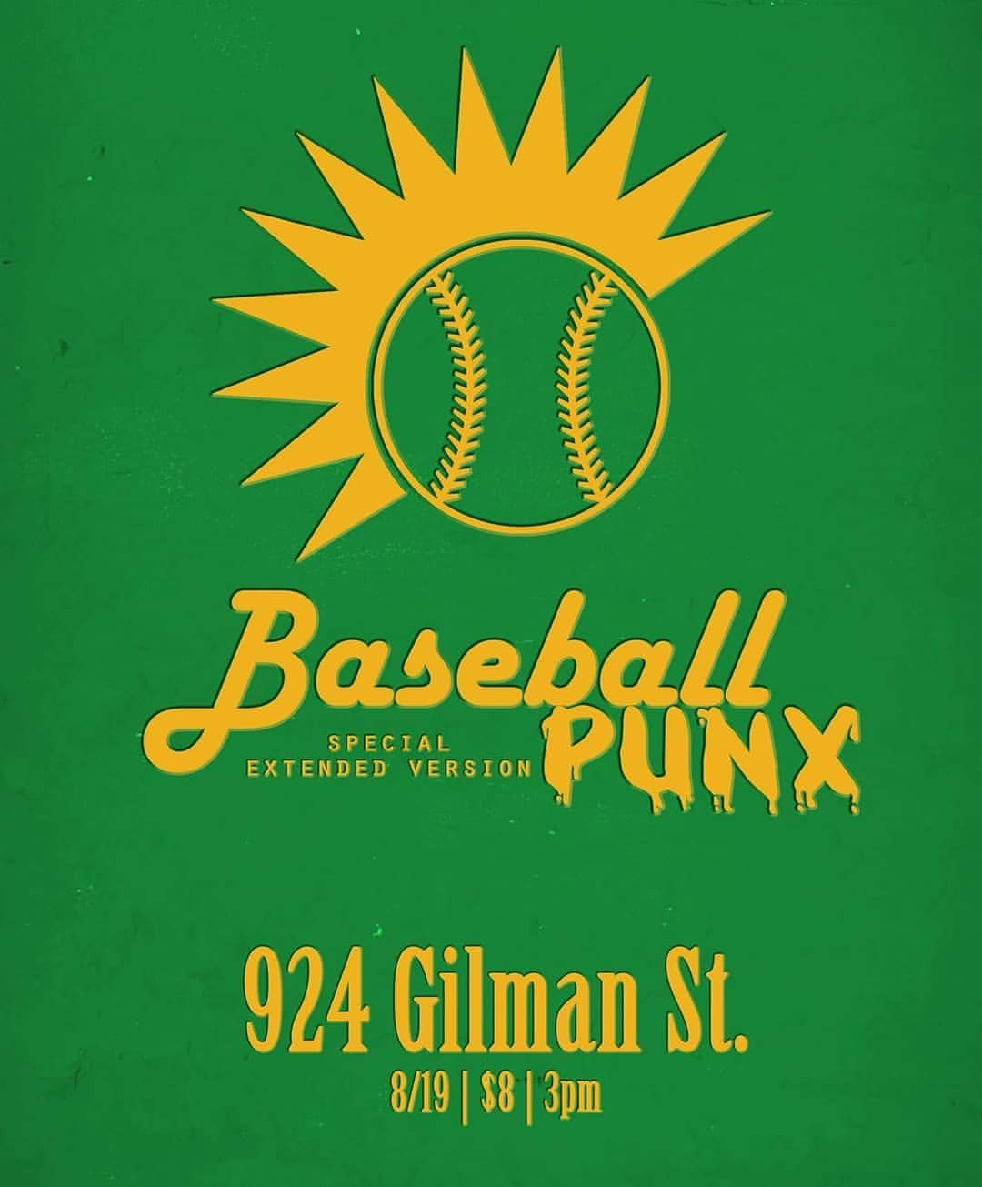 Hey California Bay [bae] A dream come true is happening this Sunday in Berkeley, I'm doing a screening at @924gilmanstreet come out for a special afternoon screening of Baseball Punx w/ some bonus footage that I still have to add!!! Buncha cool bands are playing too, come kick it! (at 924 Gilman)