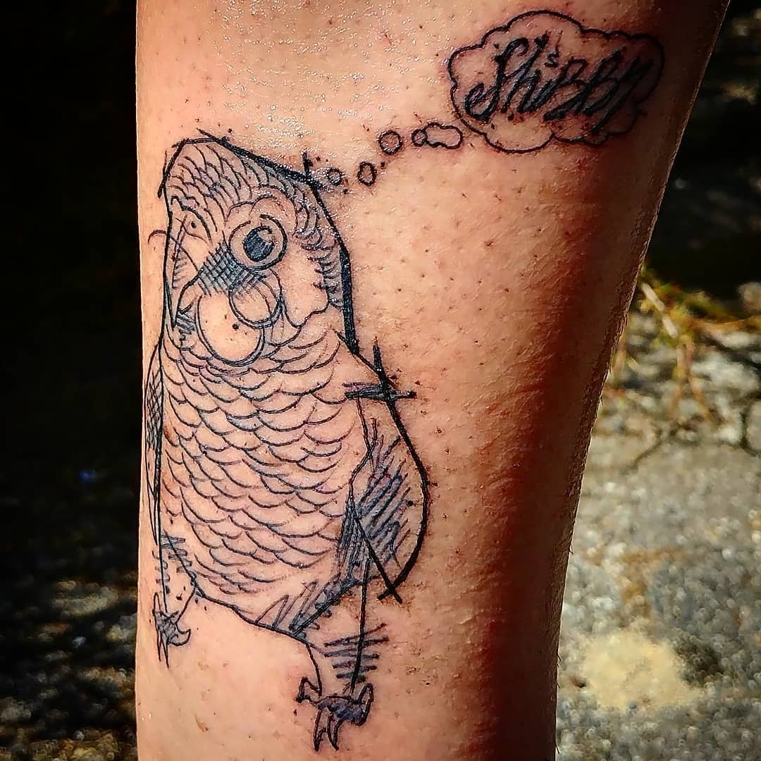 "Whitney is officially the owner of the world's first Shibby Pictures tattoo and my favorite person ever! It's my bird Banky saying ""Shibby!"""