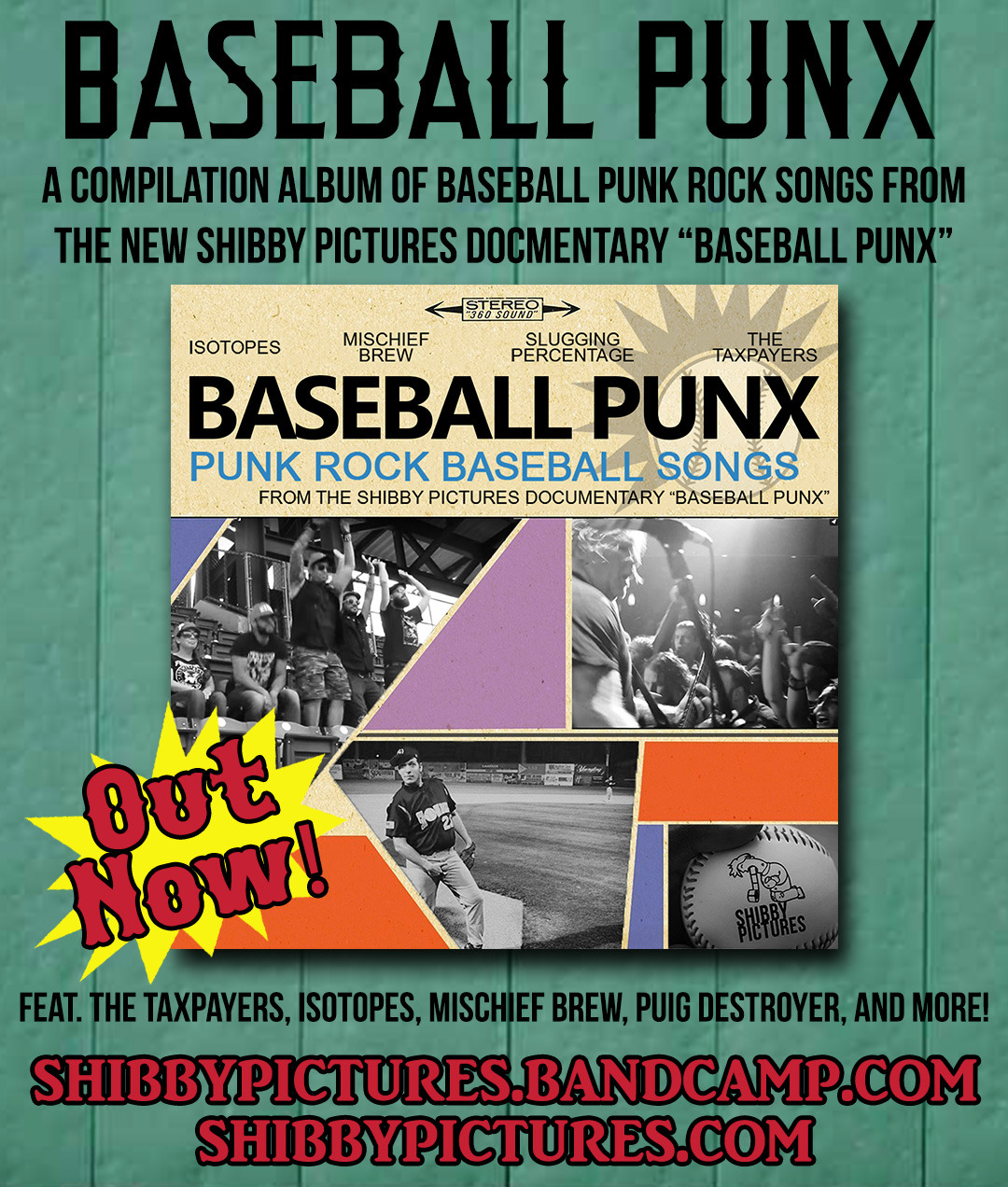 "Download the baseball/punk rock compilation album now! A companion piece with the new Shibby Pictures documentary ""Baseball Punx"" intended to exhibit some of the music that is discussed in the documentary.    https://shibbypictures.bandcamp.com/"