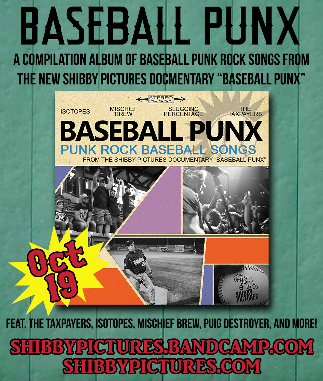 This week I will be releasing a compilation album featuring songs that are used in the Baseball Punx documentary, and served as inspiration for the project. I'm releasing this to create context, to show the kind of bands that this movie will be covering.