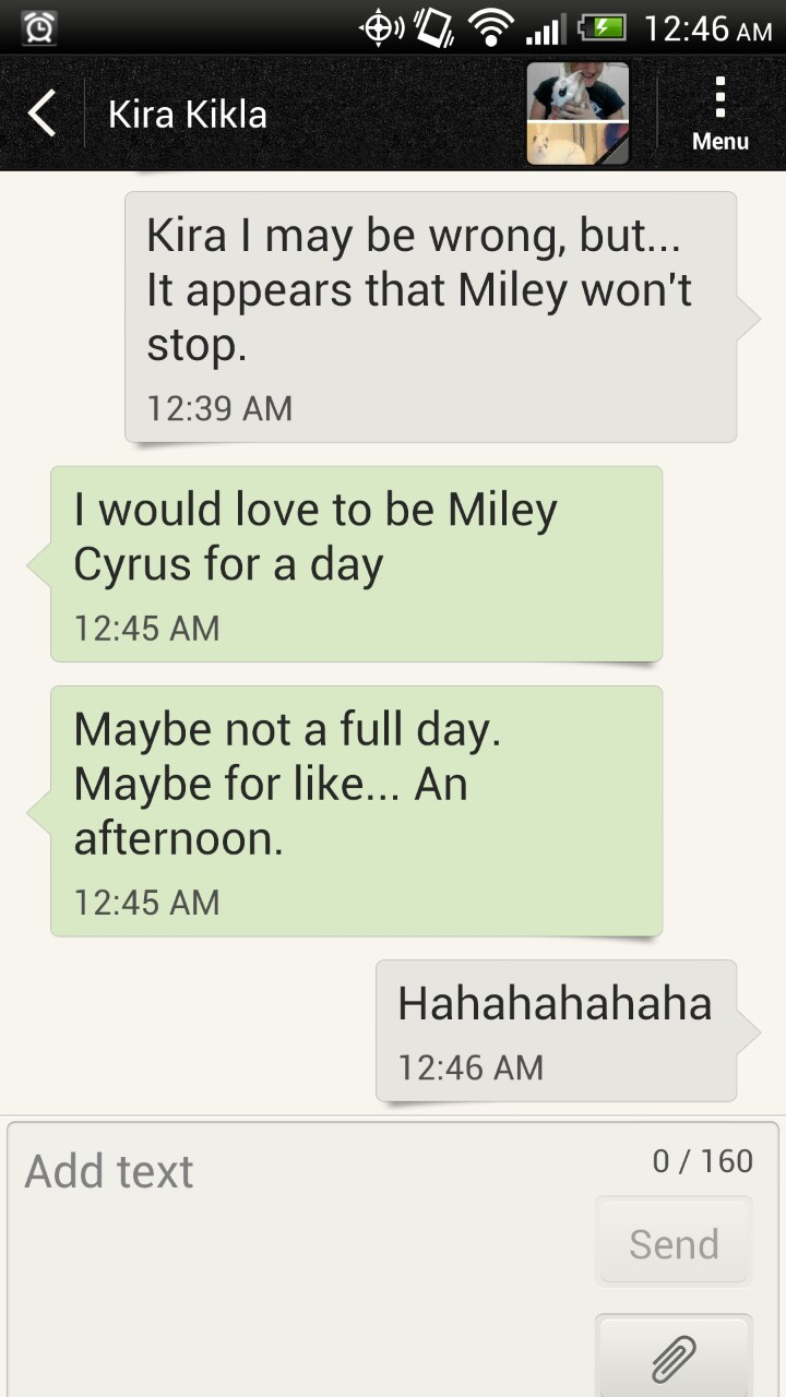 Kira appreciates Miley, sorta.